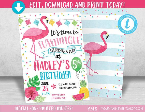 Flamingo Invitation Let S Flamingle Invitation Flamingo Etsy Flamingo Birthday Invitations Flamingo Invitation Printable Invitations