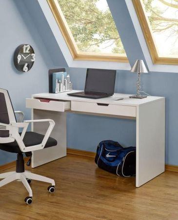 Biurko ESKIMO B-1 to doskonałe białe biurko do młodzieżowego pokoju. Biurko wykonane jest lakierowanej płyty MDF oraz laminowanej płyty meblowej, całość jest w białym kolorze.