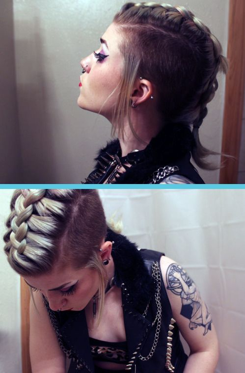 Mom French braided my mohawk. ♥                                                                                                                                                     More