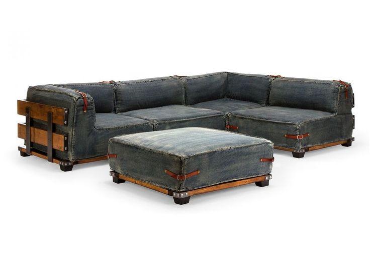 Ecksofa L-Sofa Jeans blau Patchwork Couch mit Hocker Sitzmöbel NEU FAIRVIEW