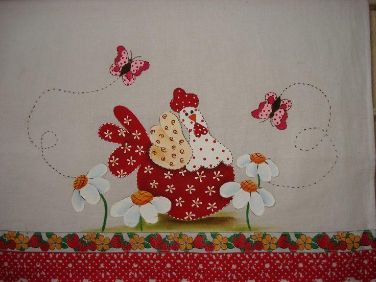 pintura em tecido galinhas - Pesquisa Google