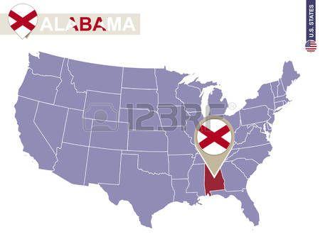 Estado de Alabama en EE.UU. mapa. bandera de Alabama y el mapa. Estados Unidos.
