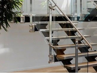 Glass and Stainless Steel balustrade D LINE BLOK FIXING
