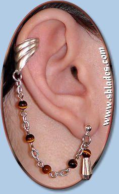 Chainmail  More Fancy Crystal earring, non-pierced to multiple pierced earcuff earring, Bajoran style. Custom handmade to order.