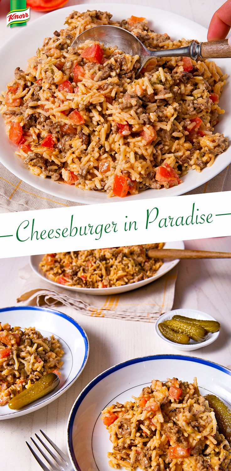 Want a fantastic idea for an easy to make, delicious dinner? Cheeseburger in Paradise. Add cheese, ground beef, and rice to the classic, creamy flavor of Knorr. It's a recipe for hamburger heaven!