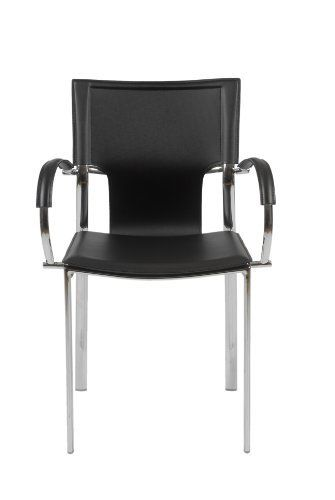 Euro Style 17211BLK Vinnie Arm Chair Black Leather Chrome Set Of 2 By