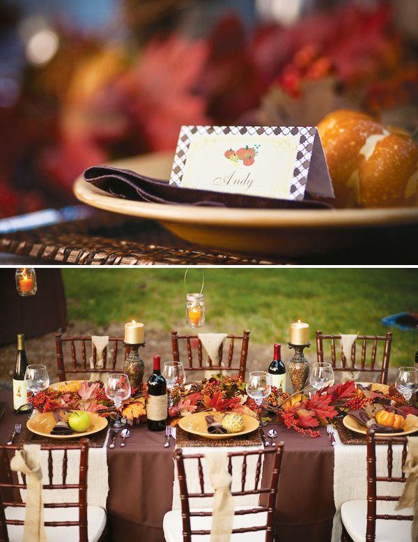 Gorgeous & Rustic Outdoor Thanksgiving Dinner- love the pumpkin pie shots & hanging mason candles!