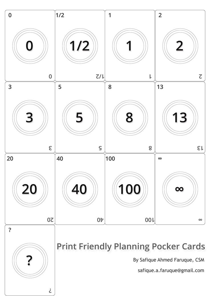 #picture: Agile Planning Poker Cards. Black and white print friendly cards to print.