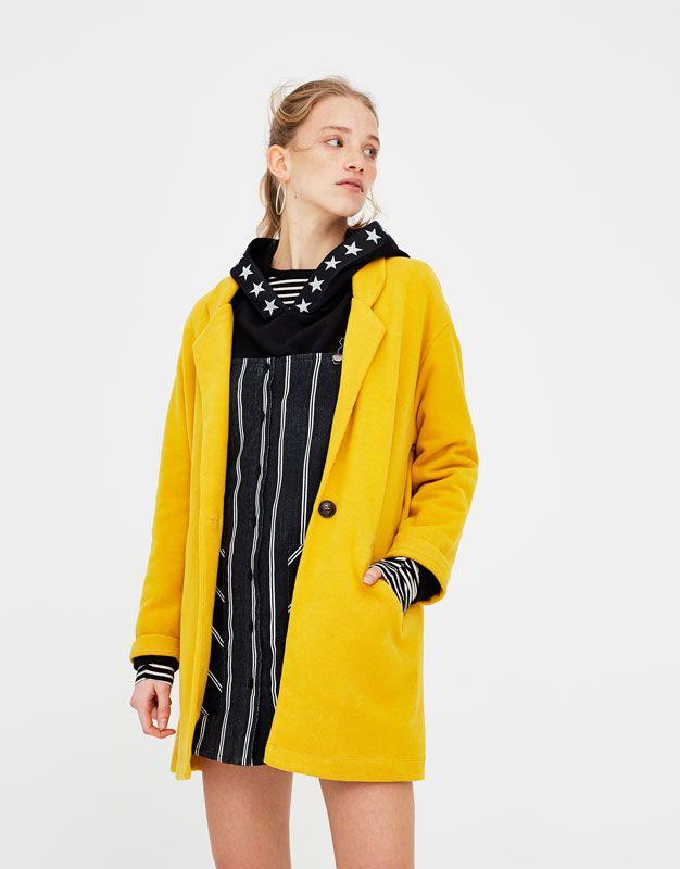 Pull&Bear - femme - vêtements - manteaux et blousons - manteau col à revers - moutarde - 05750302-V2018