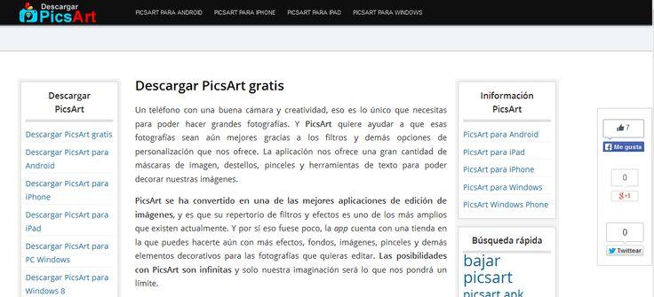 """Captura de pantalla de la web """"Descargar PicsArt"""": http://picsartdescargar.com/"""