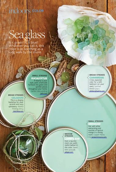 Currently, sea glass shades seem to be the most popular !: Colour, Idea, Bathroom Colors, Glasses Paintings, Paintings Colors, Colors Palettes, Colors Schemes, Seaglass, Sea Glasses