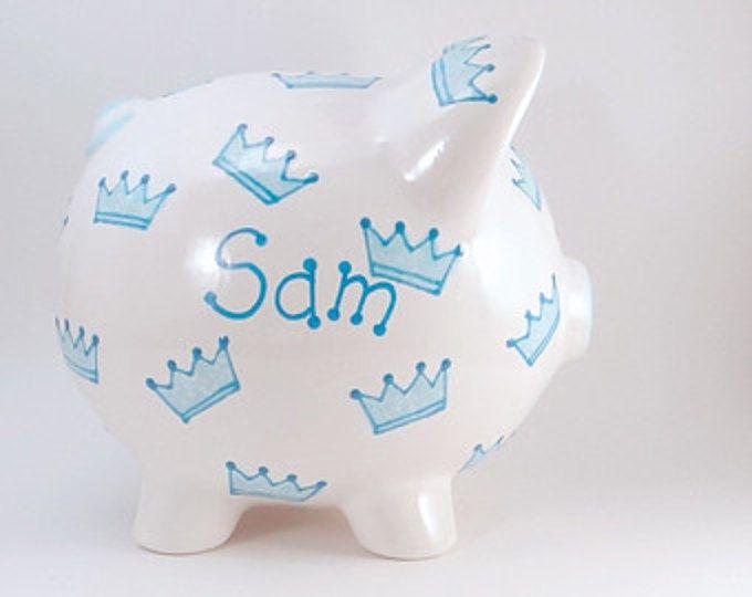 Príncipe de corona hucha - alcancía personalizada - Príncipe Piggy Bank - Banco de tema real - niños hucha - con agujero o sin agujero en la parte inferior
