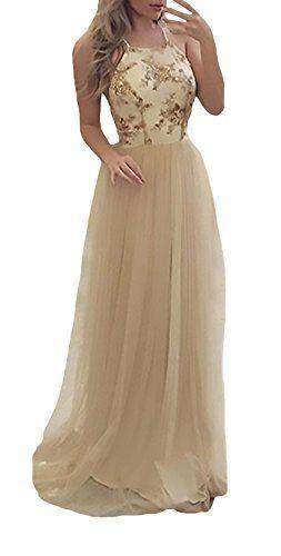 d2ad3d63def4 Vestiti Donna Cerimonia Lungo Elegante Chiffon Smanicato Halter Senza  Schienale Partito Abbigliamento Dresses Abiti Da Sera