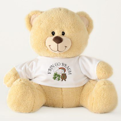 Erin Go Bragh Rainbow Pot of Gold Shamrocks Teddy Bear - home gifts cool custom diy cyo