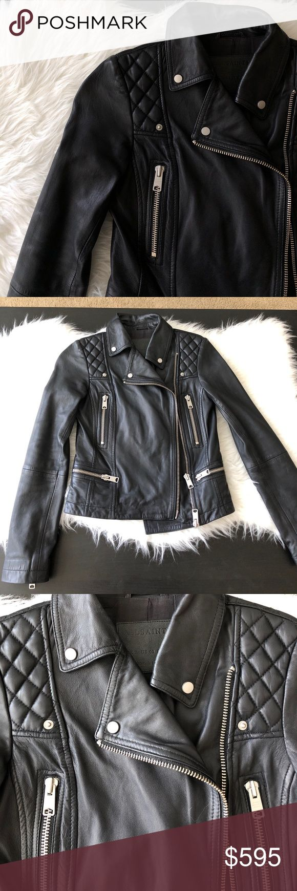 All Saints Bleeker Leather Biker Jacket 100% Sheep Leather Body. Excellent like-new condition. Only worn once. All offers will be considered. All Saints Jackets & Coats