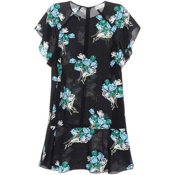 REDValentino Silk Minidress (6,880 GTQ) ❤ liked on Polyvore featuring dresses, black, floral print mini dress, floral print dress, silk floral dress, flower pattern dress and floral print silk dress