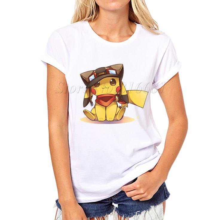 2017 Newest Pokemon Go Women T Shirt Short Sleeve Pokebenders T-shirt Pikachu Stitch Printed Funny Tee Shirts