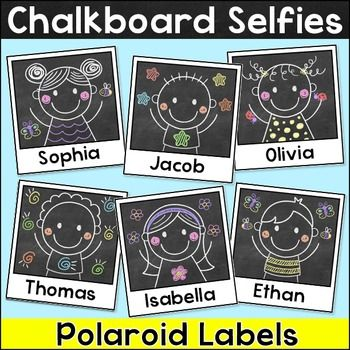 Chalkboard Theme Name Tags: Your students will love these fun Chalkboard Theme Selfie Polaroids! Use them for name tags, locker labels, supply labels or anything else you can think of for your classroom.
