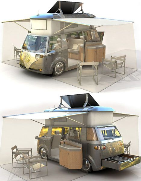 STRANGE VOLKSWAGEN BUS/CAMPER - REAR SLIDE OUT TRAY