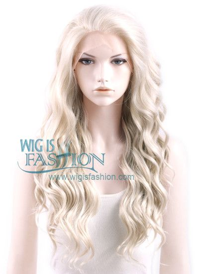 """Long Curly Wavy 24"""" Light Ash Blonde Lace Front Synthetic Fashion Wig"""