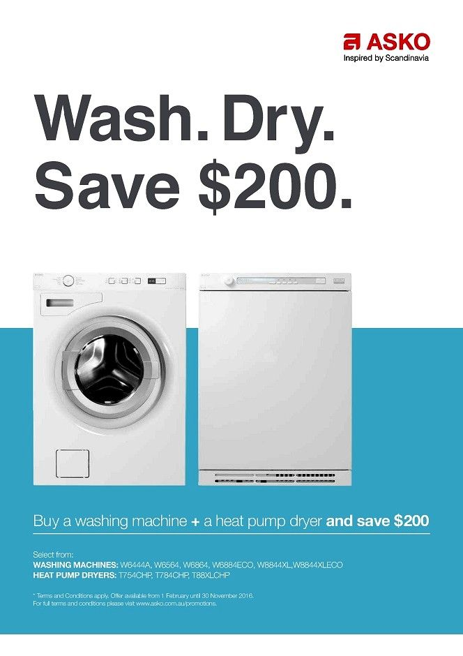 SAVE $200 on our ASKO Washer & Dryer Packages*  Purchase one Washer & a HEAT PUMP Dryer and SAVE $200* - http://prestigeapplianceschatswood.com.au/page31.aspx