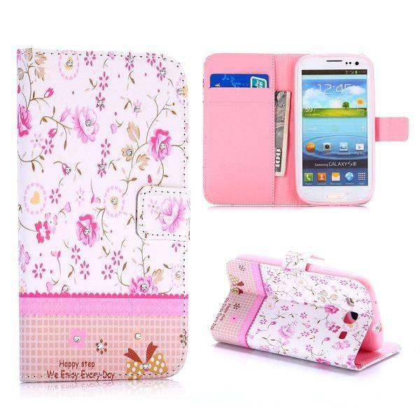 Elegante roze bloemen bookcase voor Samsung Galaxy S3
