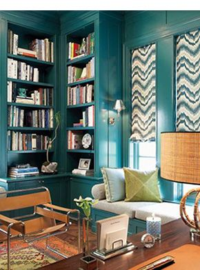 Lush teal walls with these beautiful print window panels. (William-Christopher Design. From Elle Decor.)