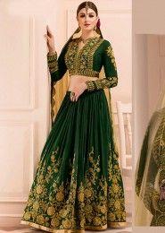 Wedding Wear Green Banglori Silk Heavy Embroidery Work Lehenga Choli