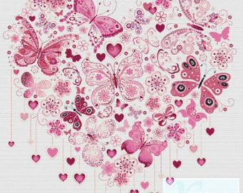 Púrpura Mariposa corazon PDF punto de cruz por XSquaredCrossStitch