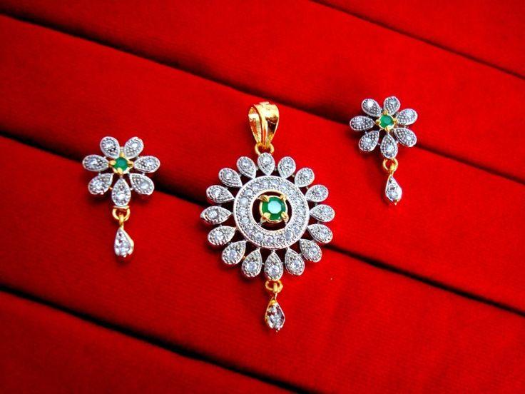 Daphne Green Flower Pendant Earrings for Cute Rakhi Gift