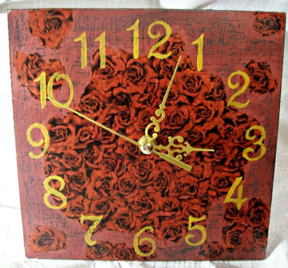 Wall clock / Red Roses / by ZornicaArtshop on Etsy