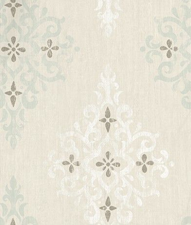 Holmwood (NCW4120-01) - Nina Campbell Wallpapers - A diamond shaped damask motif printed with a slightly distressed effect. Shown here in aqua/white - more colours are available. Please request a sample for true colour match.