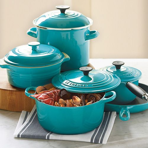 I want these, and yes this color.... Le Creuset.: Lecreuset, Cookware Sets, Dutch Ovens, Dreams Kitchens, Color, Wish Lists, Cookware And Bakewar, Crucible, Wishlist