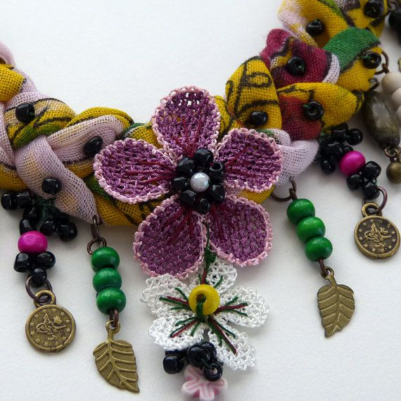 Needlework necklace on thin cotton fabric from Turkey by MsPolite, $47.00