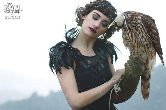 黒い羽の肩エポレット、羽毛の翼の取り外し可能です