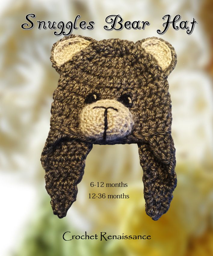 Snuggly Bear Hat for 6-12 & 12-36 month babies and toddlers.  Cozy warm ears all Fall, Winter and Spring.  Crochet Pattern  www.etsy.com/shop/crochetrenaissance and www.ravelry.com/people/crochet41to5s