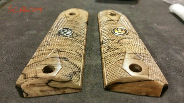 Stabilized Spalted Maple 1911 Grips Hand Checkered Amp Ruger