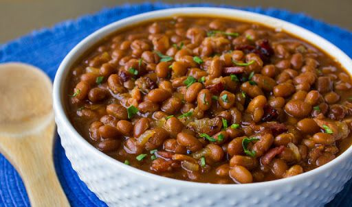 Bbq Baked Beans With Bacon, Onions, Garlic, Baked Beans, Yellow Mustard, Brown Sugar, Bbq Sauce, Salt, Pepper, Cilantro
