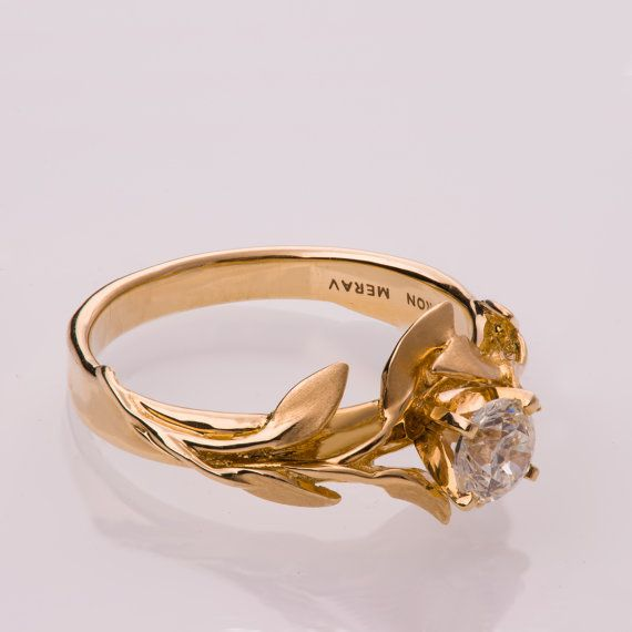 Leaves Engagement Ring No. 4 14K Gold and Diamond by doronmerav