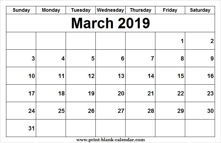 Printable 2019 March Calendar Design Printblank Pinterest