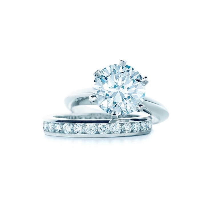 The Tiffany® Setting engagement ring with a channel-set band. #TiffanyPinterest