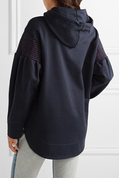 Cédric Charlier - Smocked Cotton-jersey Hooded Top - Navy - IT