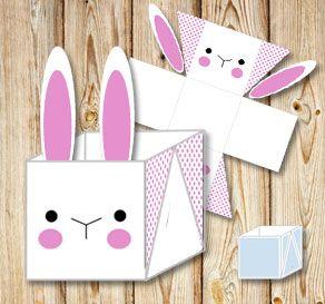 Gratis utskrivbara Vit påskkorg (box) med enkel påskhare och rosa prickar