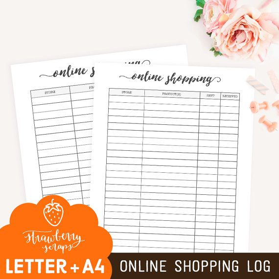 Lovely Online shopping planner ONLINE SHOPPING LOG Printable binder inserts Shopping tracker A Letter Shopping checklist Package tracking