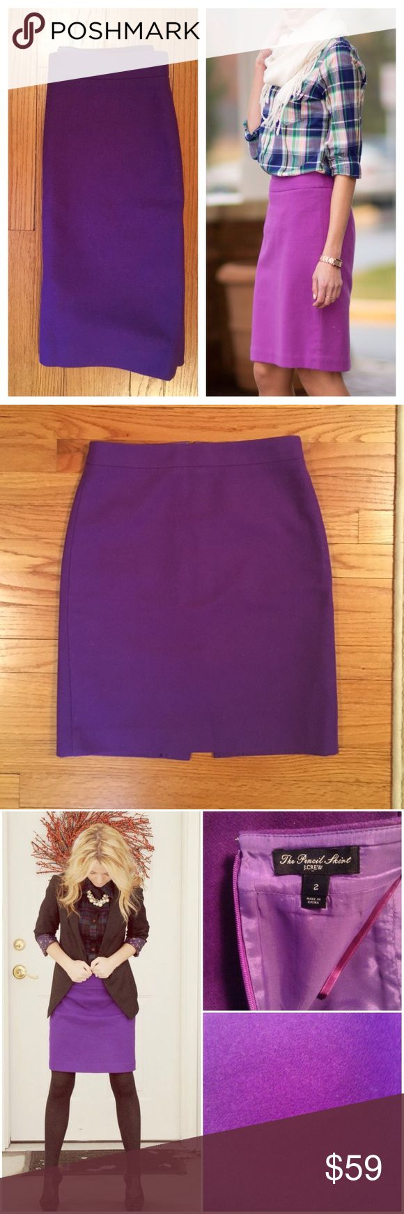 J. Crew No. 2 Pencil Skirt Classic pencil skirt in punchy purple. Wool blend, fully lined. Excellent condition only worn a few times. J. Crew Skirts Pencil