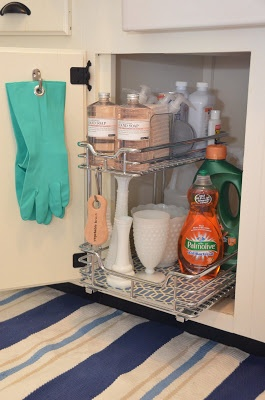 Under Sink Storage ideas for under the kitchen sink--includes a pull-out trash bin on the other side. Good info for both kitchen and bath storage.