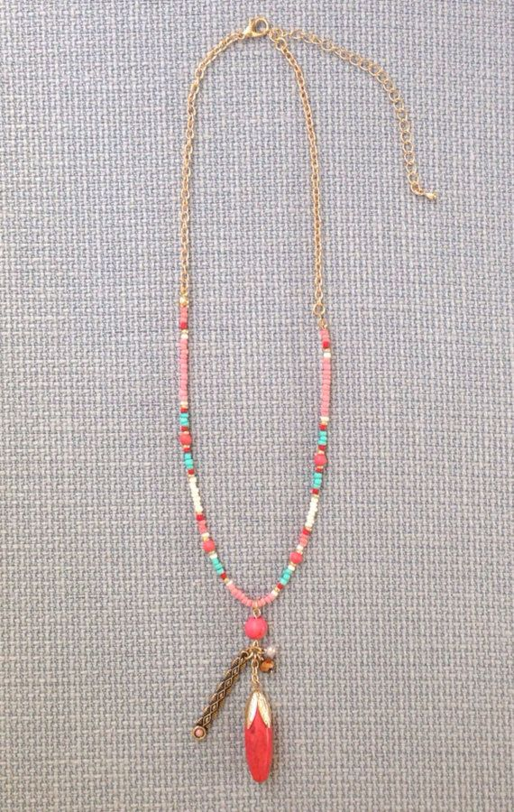 Coral Pink Seed Bead Pendant Necklace Boho Bohemian Tribal Statement Turquoise Seed Bead Delicate Simple Minimalistic Color Blocking