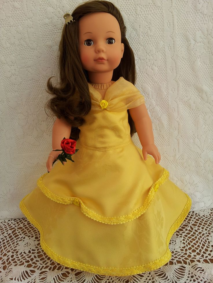 Princess Dress as in Beauty & the Beast yellow ball gown & rose bud