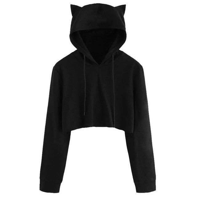 Cute Womens Sweatshirts Hoodie Crop Tops Solid Cat Ear Long Sleeve Cropped Sweatshirt Hooded Pullover BK XXL