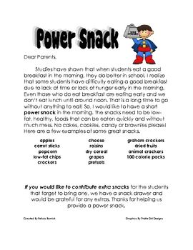 Letter to parents about the types of snack students are aloud to bring in to eat at snack time....